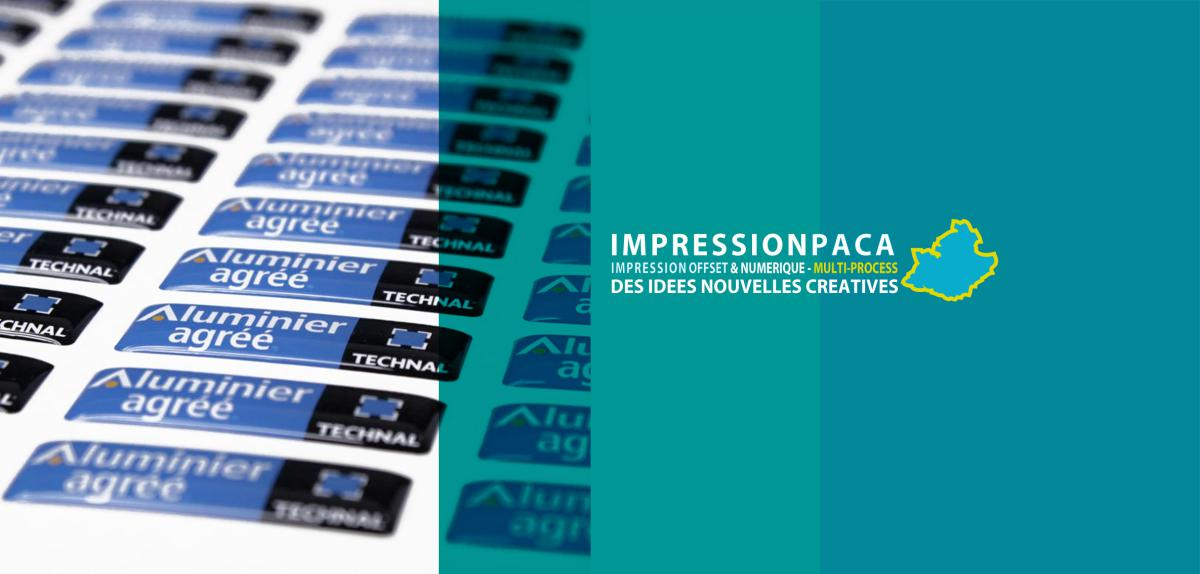 impression doming autocollant