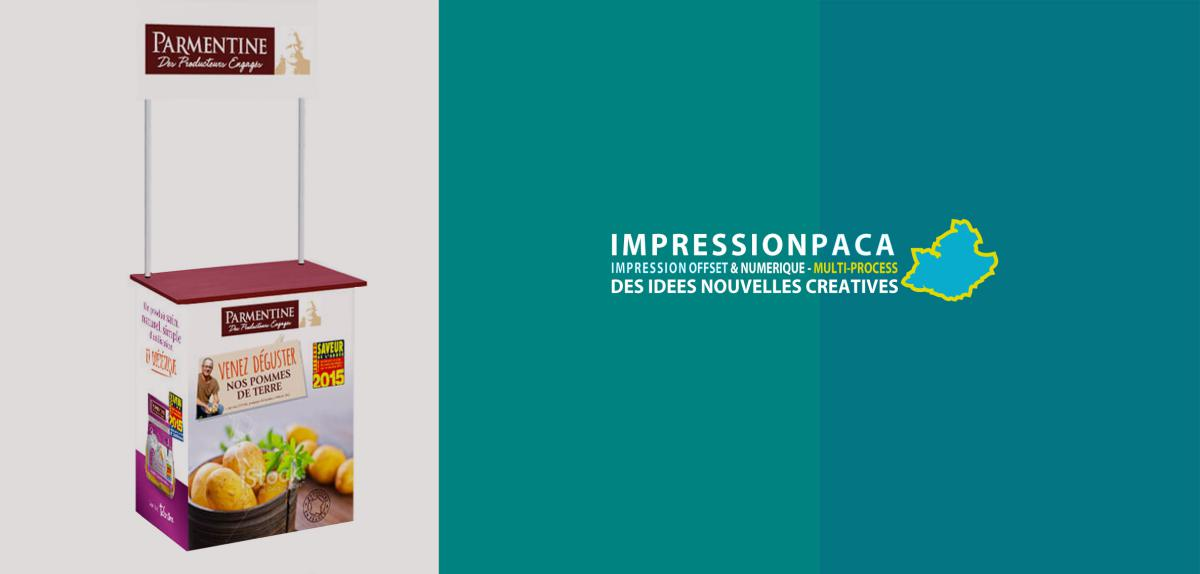 impression stand dégustation, sant animation commerciale